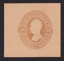 U338a 30c Yellow Brown on Oriental Buff, Mint Cut Square, 48 x 40