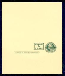 UY15 UPSS# MR25 Revalued 2c on 1c UY7, horizontal at left of stamp, Press Printed, Mint UNFOLDED