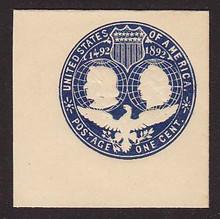 U348 1c Blue on White, die 1, Mint Full Corner