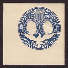 U348 1c Blue on White, die 3, Mint Full Corner