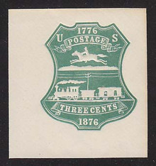 U219 3c Green on White, die 1, Mint Cut Square 48 x 50