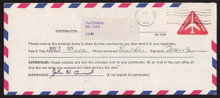 UPSS # AMO-1-47 10c Red Test Envelope Official Use, Used Entire