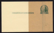 UX27 UPSS# S37EPUv-3 1c Thomas Jefferson, Green on Buff, Paste-up, Mint Postal Card.