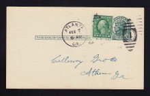 UX27D UPSS# S39 1c Thomas Jefferson, Dark Green on Grayish Used Postal Card, Added 1c for War Rate