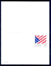 UY40 UPSS# MR50 19c Stars & Stripes Mint UNFOLDED