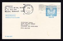 UZ3 UPSS# O3 14c Official Mail, blue Used Postal Card