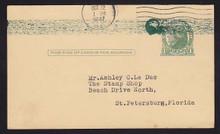 UX27 UPSS# S37E 1c Thomas Jefferson, Green on Buff Used Postal Card.