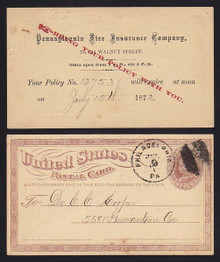 UX1 Pennsylvania Fire Insurance Company Advertising Postal Card