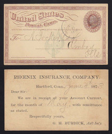 UX1 Hartford, CT Phoenix Insurace Co Advertising on FRONT of card