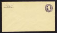 U478, UPSS #3027-19 2c on 3c Dark Violet on Amber, die 1, Mint Entire