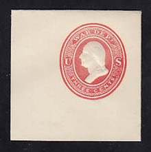 UO51 3c Red on White, MInt Full Corner, 50 x 50