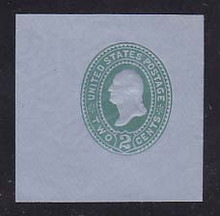 U321 2c Green on Blue, die 3, Mint Cut Square, 50 x 50