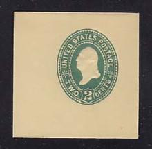 U306 2c Green on Amber, die 1, Mint Cut Square, 50 x 50