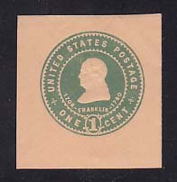 U381 1c Green on Oriental Buff, Mint Cut Square