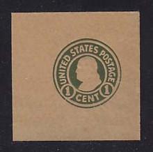 W427 1c Green on Brown (glazed), Mint Full Corner