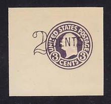 U446 2c on 3c Dark Violet on White, die 1, Mint Cut Square