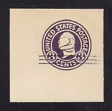 U448 2c on 3c Dark Violet on White, die 1, Mint Cut Square