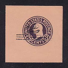 U450b 2c on 3c Dark Violet on Oriental Buff, die 6, Mint Cut Square