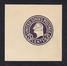 U458b 2c on 3c Dark Violet on White, die 6, Mint Full Corner, 50 x 50