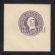 U458c 2c on 3c Dark Violet on White, die 7, Mint Full Corner, 50 x 50