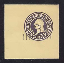 U459c 2c on 3c Dark Violet on Amber, die 7, Mint Full Corner, 50 x 50
