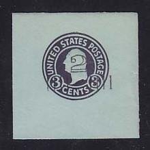 U461 2c on 3c Dark Violet on Blue, die 1, Mint Cut Square