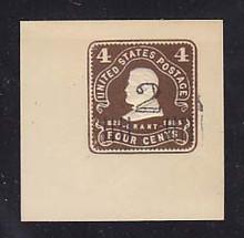 U472 2c on 4c Brown on White, Mint Cut Square, 50 x 50