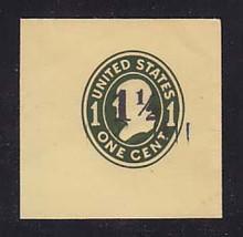 U491 1 1/2c on 1c Green on Amber, die 4, Mint Full Corner, 50 x 50