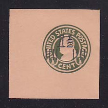 U517a 1 1/2c on 1c Green on Oriental Buff, die 4, Mint Cut Square