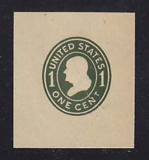 W405 1c Green on Manila, die 1, Mint Cut Square