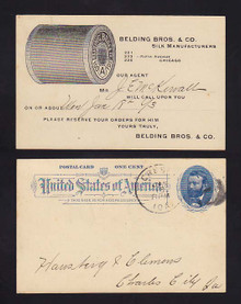 UX11 Chicago, Illinois Salesmen Calling Card, Belding Bros. & Co. Silk Manufactures