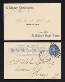 "UX11 San Antonio, Texas 1891 ""A Merry Christmas/Happy New Year"" Greeting"