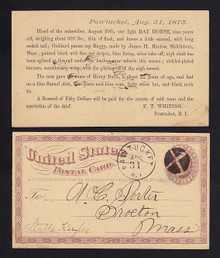 UX3 Pawtucket, Rhode Island 1875 REWARD for Horse & Buggy