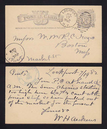 "UX7 Lockport, New York 1882 Fancy ""US"" Cancel"