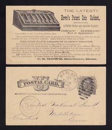 UX7 Marlboro, Massachusetts Howe's Patent Coin Cabinet