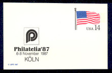 UX117 UPSS# S134b 14c Stars & Stripes, PHILATELIA '87 overprint, Mint Postal Card