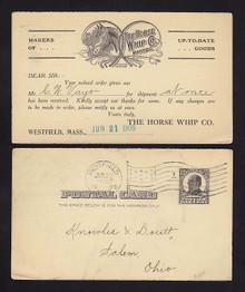 UX19 Westfield, Massachusetts SALEMEN'S Calling Card, The Horse Whip Co.