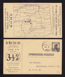 UX20 Wellsboro, Pennsylvania Tioga County Savings Bank, map of counties