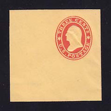 U27 3c Red on Buff, Mint Cut Square, 50 x 50