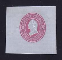 U36 3c Pink on Blue, Mint Cut Square, 45 x 40