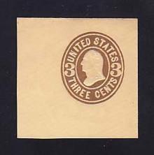 U61 3c Brown on Buff, Mint Cut Square, 48 x 48