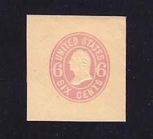 U63 6c Pink on Buff, Mint Cut Square, 39 x 42