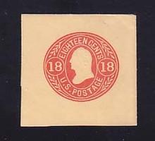 U70 18c Red on Buff, Mint Cut Square, 45 x 43