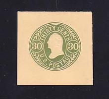 U72 30c Green on Buff, Mint Cut Square, 42 x 41