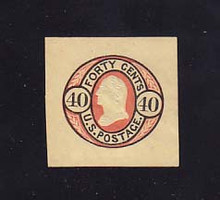 U45 40c Black & Red on Buff, Mint Cut Square, 36 x 35