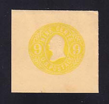 U66 9c Lemon on Buff, Mint Full Corner, 46 x 43