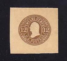 U68 12c Brown on Buff, Mint Cut Square, 43 x 42