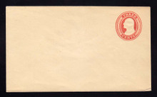 U9 UPSS # 15/T3 3c Red on White, die 5, Mint Entire, Gum thin on back flap