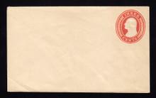 U9 UPSS # 14/T2 3c Red on White, die 5, Mint Entire, Minor Bend Lower Left