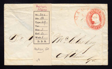 U9 UPSS # 15 3c Red on White, die 5, Used Entire, DOUBLE IMPRESSION/1 Albino, folds